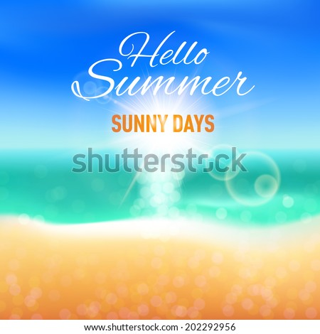 Raster version. Blurred background with sunny beach for your summer design - stock photo