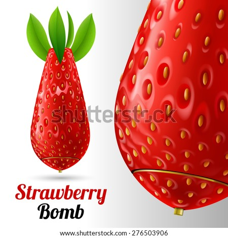 Raster version. Bomb covered strawberries texture on a light background - stock photo