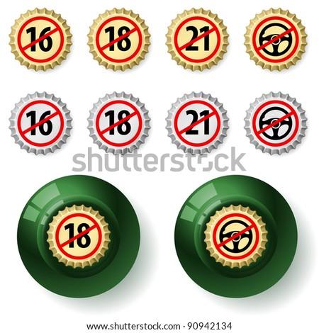 Raster version. Bottle caps.  Illustration on white background - stock photo