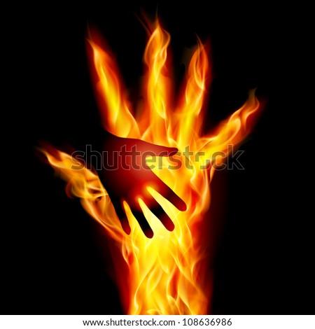 Raster version. Burning helping hand. Illustration for design on black background - stock photo