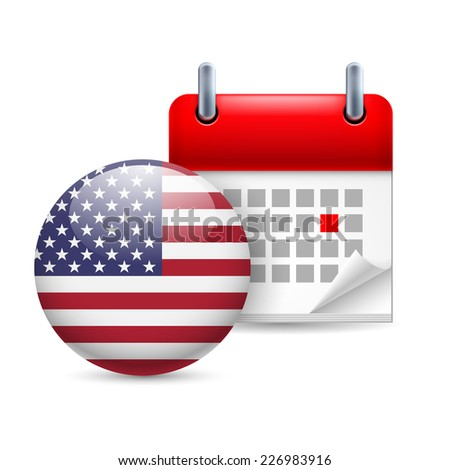 Raster version. Calendar and round American flag icon. National holiday in USA  - stock photo