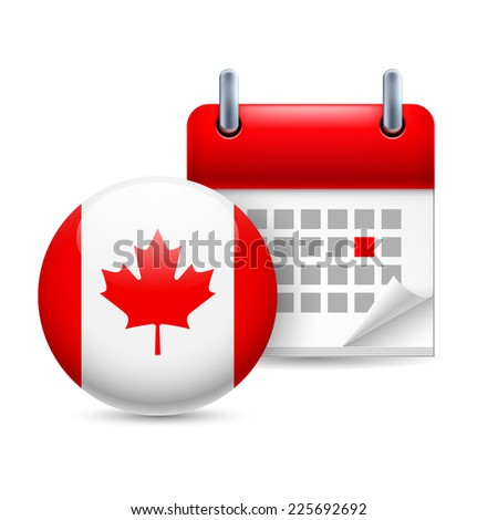 Raster version. Calendar and round Canadian flag icon. National holiday in Canada  - stock photo