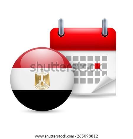 Raster version. Calendar and round Egyptian flag icon. National holiday in Egypt