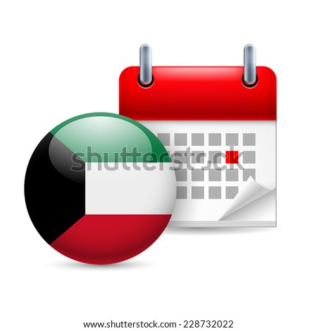 Raster version. Calendar and round flag icon. National holiday in Kuwait  - stock photo