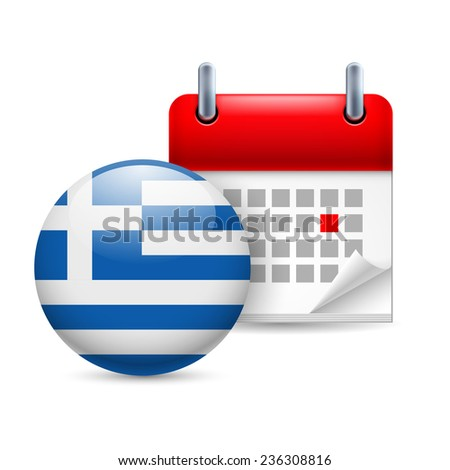 Raster version. Calendar and round Greek flag icon. National holiday in Greece  - stock photo