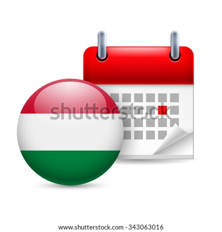 Raster version. Calendar and round Hungarian flag icon. National holiday in Hungary - stock photo