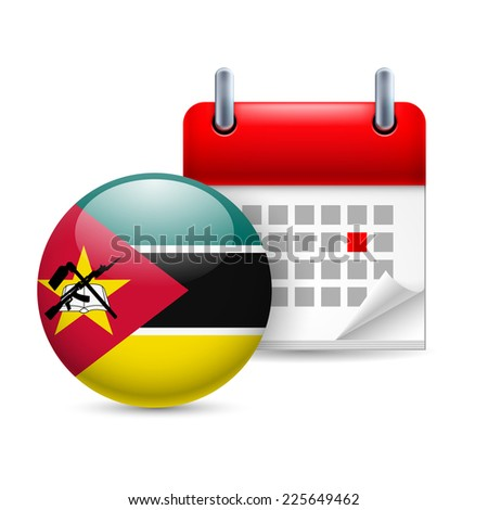 Raster version. Calendar and round Mozambican flag icon. National holiday in Mozambique  - stock photo
