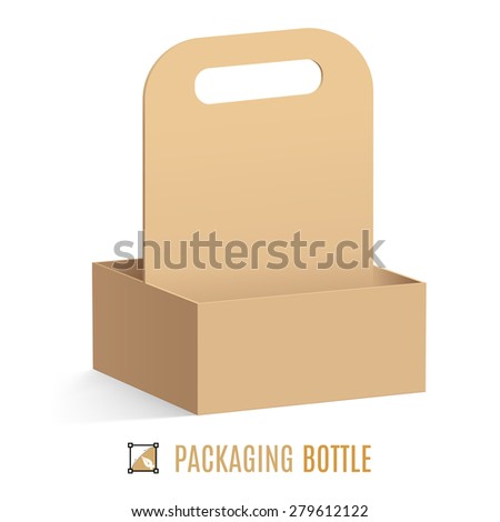 Raster version. Cardboard packaging for bottles isolated on a white background - stock photo