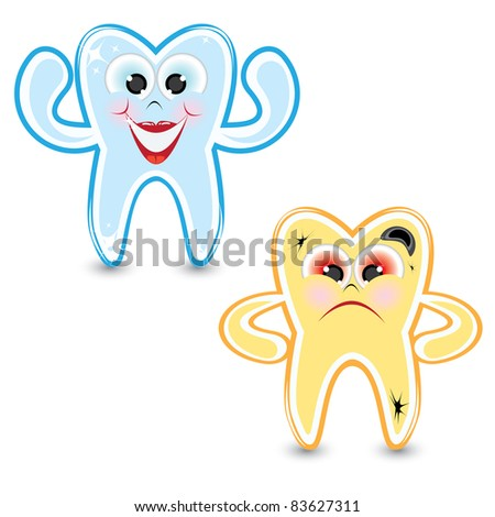Raster version. Cartoon healthy and diseased tooth. Illustration on white background - stock photo