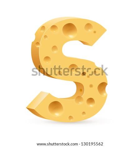Raster version. Cheese font S letter. Illustration on white. - stock photo