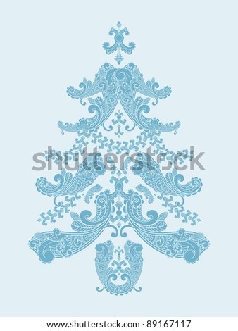 raster version christmas tree from paisley elements  in blue - stock photo