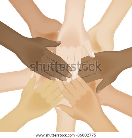 Raster version. Circle of multiracial human hands. Illustration on white background - stock photo