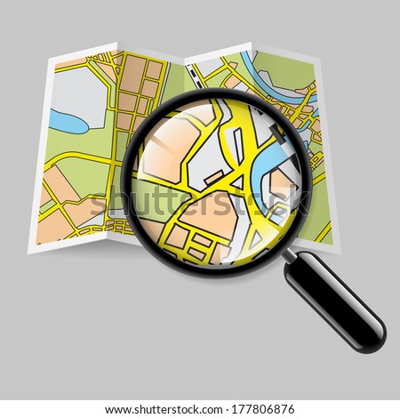Raster version. City map booklet with magnifying glass on grey background - stock photo