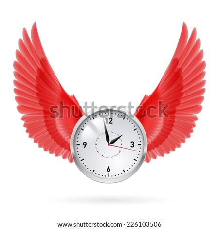 Raster version. Clock and red wings. Time. Fly. Hours.  - stock photo