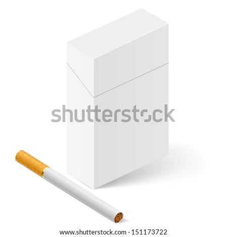 Raster version. Closed full pack of cigarettes. Illustration on white - stock photo