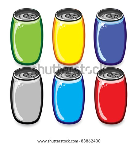 Raster version. Colorful drink cans. Illustration on white background