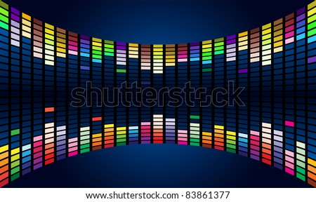 Raster version. Colorful Graphic Equalizer Display (editable ) #3 - stock photo