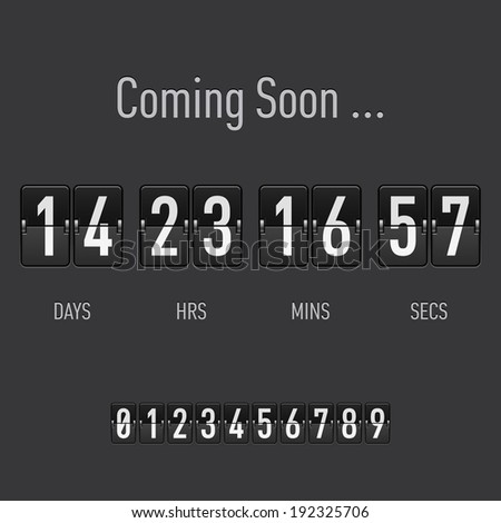 Raster version. Coming soon text with days and hours countdown in flip font - stock photo