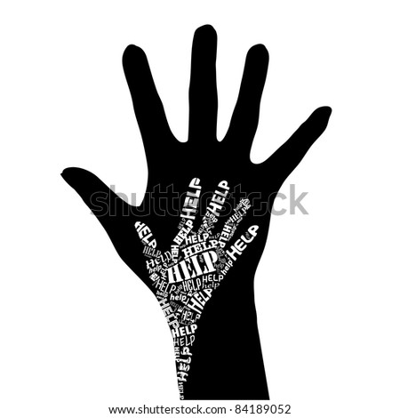 Raster version. Conceptual black and white  illustration - Hand of Help. - stock photo