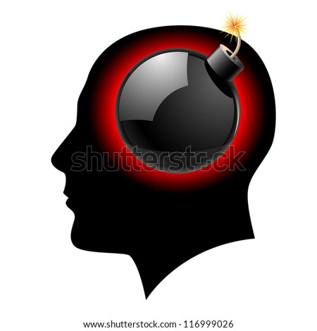 Raster version. Creative ideas Bomb in Head Illustration on white