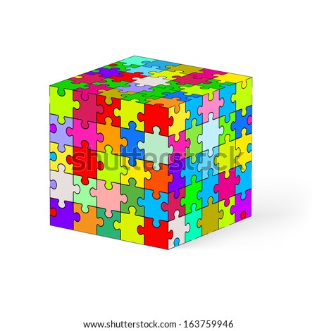 Raster version. Cube made of colorful puzzle elements. Illustration on white background.   - stock photo