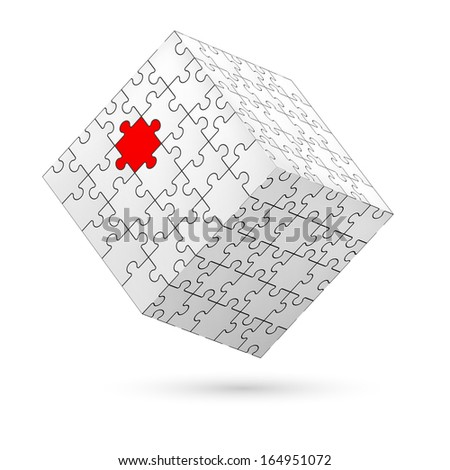 Raster version. Cube made of white puzzle elements with one red piece. Illustration on white background.   - stock photo