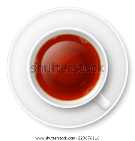 Raster version. Cup of black tea over white background  - stock photo