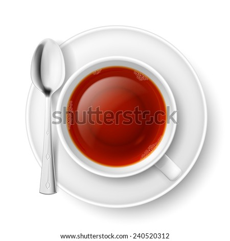Raster version. Cup of black tea with spoon over white background