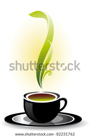 Raster version. Cup of coffee or tea.  illustration on white background. - stock photo