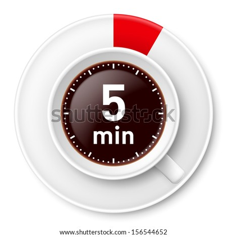 Raster version. Cup of coffee with time limit for break: five minutes. Illustration on white background. - stock photo