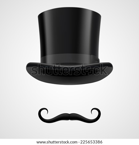 Raster version. Curly retro moustaches and top hat elements. mysterious victorian aristocrat on grey bacground  - stock photo