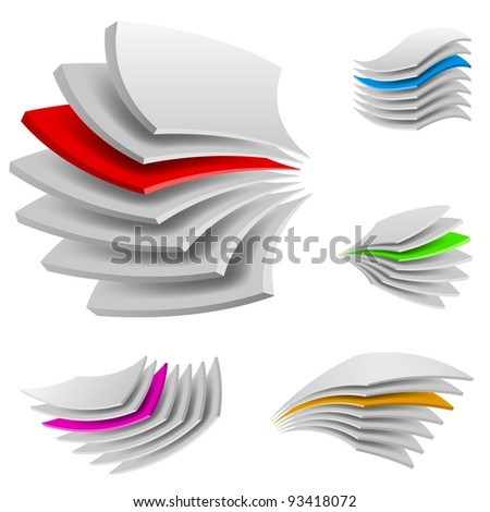 Raster version. Curved Multi layers. Illustration of the designer on a white background - stock photo