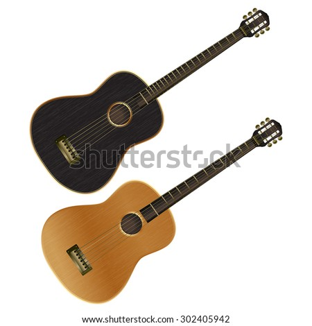 Raster version dark acoustic guitar and classical guitar bright colors, isolated objects - stock photo