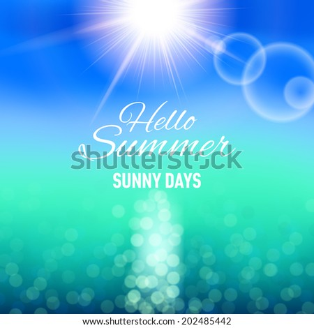 Raster version. Defocused background with sun and sea for your summer design - stock photo