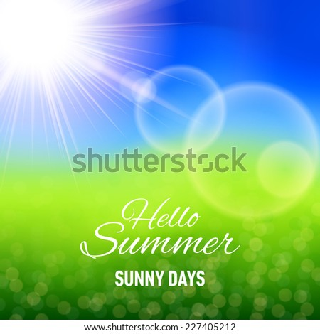 Raster version. Defocused summer background with glaring sun and lens flare  - stock photo