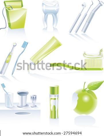 Raster version. Dental icon set - stock photo