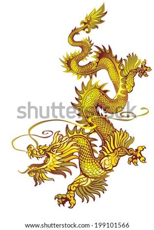 Raster version / Descending gold oriental dragon on a white background - stock photo