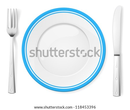 Raster version. Dinner plate, knife and fork. Illustration on white background - stock photo