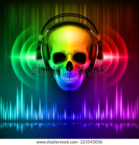 Raster version. Disco background with skull in headphones, equalizer in spectrum colors  - stock photo