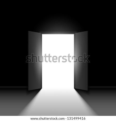 Raster version. Double open door.  Illustration on black background - stock photo