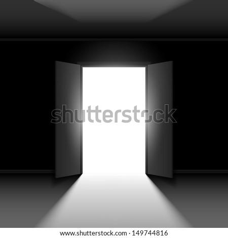 Raster version. Double Open door with light. Illustration on black empty background - stock photo