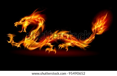 Raster version. Dragon. Abstract fiery Illustration on black background for design - stock photo