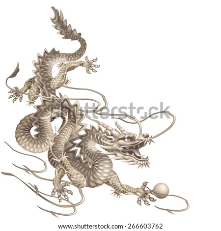 Raster version / Dragon running down diagonally on a white background - stock photo