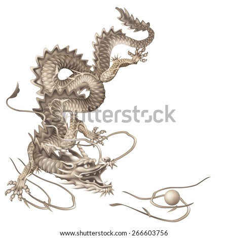 Raster version / Dragon running vertically down on a white background - stock photo