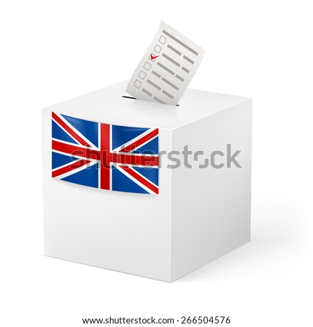 Raster version. Election in Great Britain: ballot box with voicing paper isolated on white background.  - stock photo