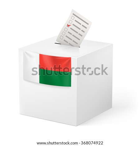Raster version. Election in Madagascar: ballot box with voting paper on white background - stock photo