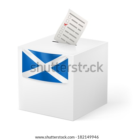 Raster version. Election in Scotland: ballot box with voting paper on white background - stock photo
