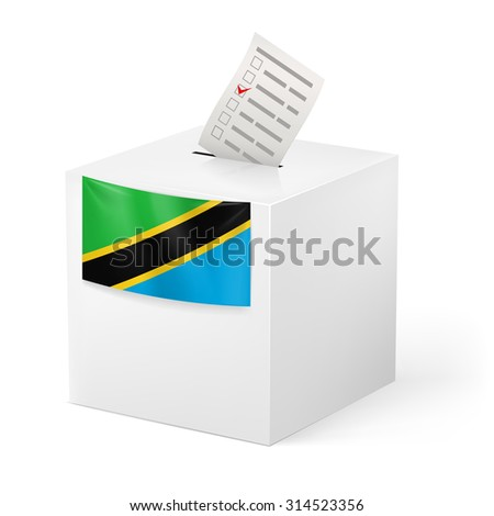 Raster version. Election in Tanzania: ballot box with voting paper isolated on white background - stock photo