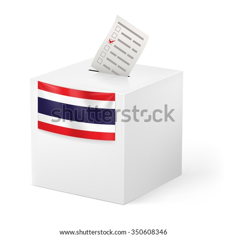 Raster version. Election in Thailand: ballot box with voicing paper isolated on white background - stock photo