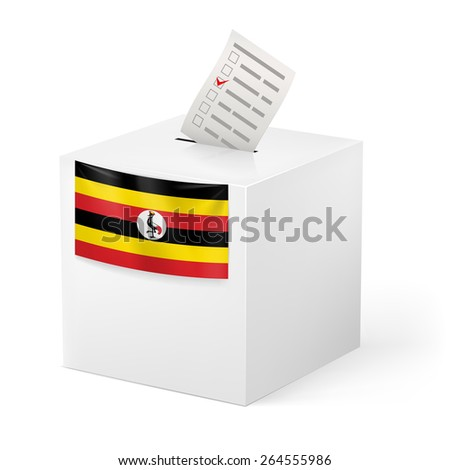 Raster version. Election in Uganda: ballot box with voting paper isolated on white background - stock photo